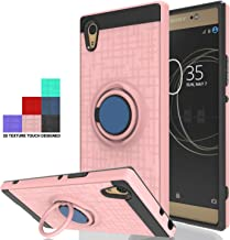 Wtiaw for:Sony Xperia XA1 Ultra Case,Sony Xperia XA1 Ultra Phone Case,360 Degree Rotating Ring Kickstand [TPU+PC Material] Hybrid Dual Layer Defender Case for Sony Xperia XA1 Ultra-CH Rose Gold