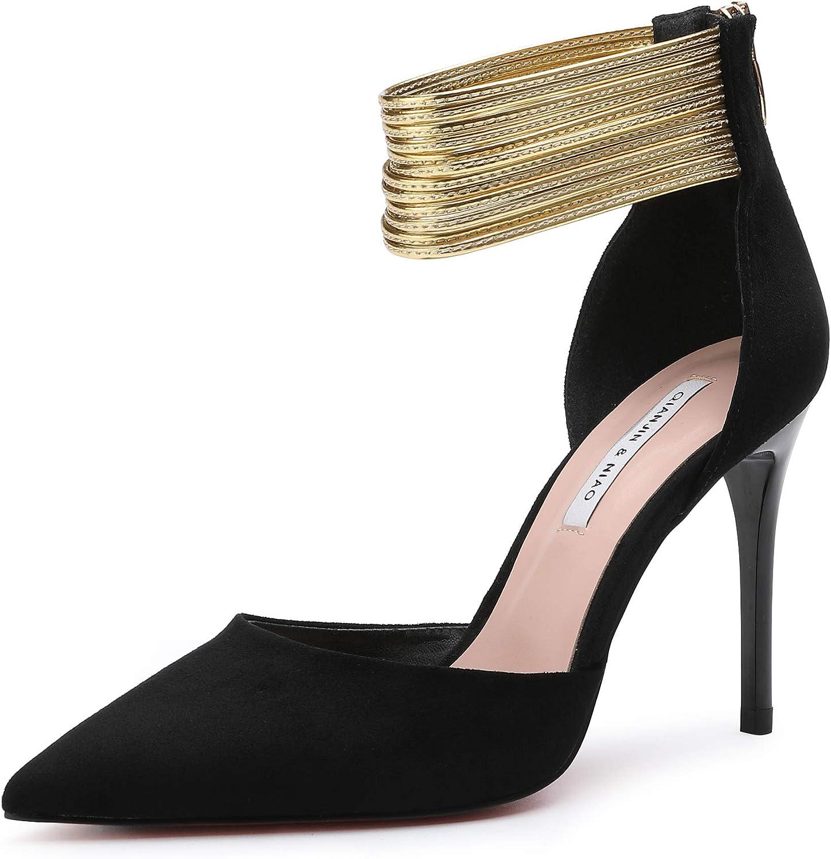 Soulength Girls High Heels Women's Stiletto Suede Heels Ladies Point-Toes Sexy Wild Pumps