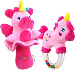 TEYTOY My First Bead Rattle, 2pcs Soft Baby Shake Rattles Set Nontoxic, Pink Horse Stroller Bedtime Toy for Newborn Baby a...