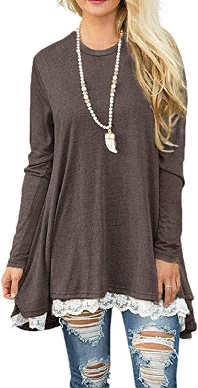 Women's Lace Tunic Top Sweatshirt Long Sleeve Blouse ALine Flowy TShirt Dress