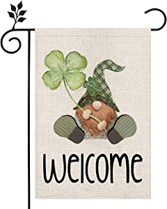 CROWNED BEAUTY St Patricks Day Garden Flag 12×18 Inch Gnome Welcome Small Vertical Double Sided Green Parade Holiday Outside Décor for Yard Farmhouse CF044-12