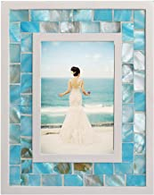 GIFTME 5 Picture Frame 4x6 Mother of Pearl Photo Frame 4 by 6,Tabletop or Wall Hanging Mosaic Picture Frame (4x6 inch, Blue)