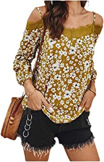 neveraway Women's Shoulder Off Sling Cotton Fashion Floral Printed Blouse Tees