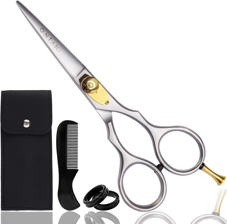 ONTAKI Premium Hand Forged Barber Salon Japanese Steel Beard Mustache Hair Shears Scissors for Bangs Haircuts : Beauty & Personal Care