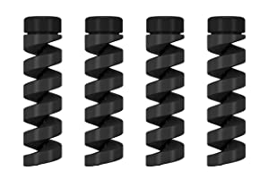 Atoll Cable Protector (4-Pack) - Charger Protectors - Cord Protector - Cord Saver Compatible for iPhone, iPad, MacBook (Black)
