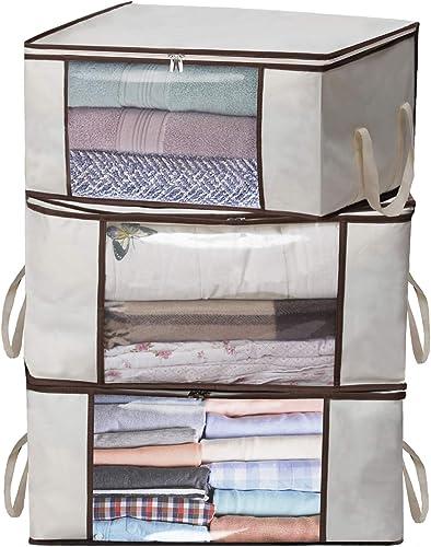 MISSLO Thick Oxford Clothing Organizer Storage Bags, 3 Piece Set (Beige)