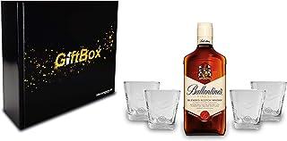 Ballantines Set/Geschenkset - Ballantines Finest Blended Scotch Whisky 0,7l 700ml 40% Vol  4x Tumbler-Gläser mit Logo