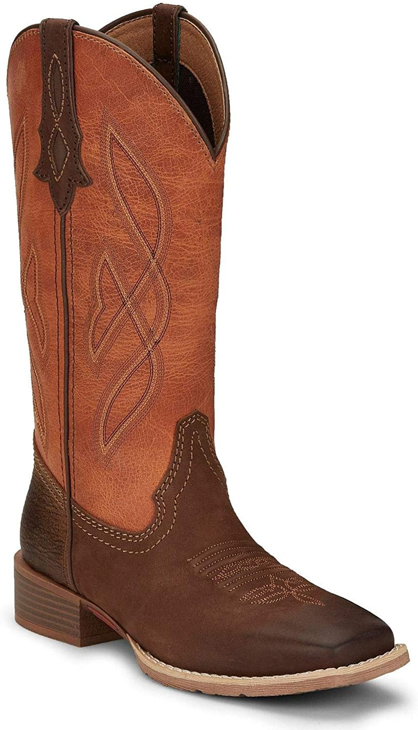 Justin Women's lowest price Breakaway Moka Our shop most popular Western Boot 7 Toe Wide Square Tan