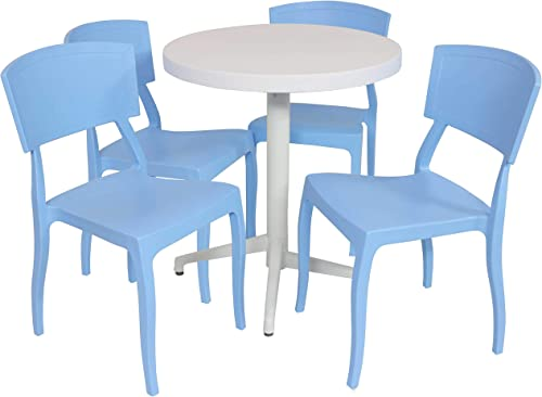 2021 Sunnydaze sale All-Weather Elmott Outdoor 5-Piece Patio Furniture Dining Set - Includes Round Table with wholesale Folding Top and 4 Chairs - Commercial Grade Indoor/Outdoor Use - Light Blue Chairs/White Table online