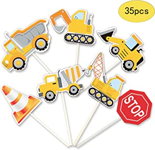 35-Pack Construction Cupcake Toppers Picks, Dump Truck Excavator Tractor Party Cake Toppers for Kids Birthday Baby Shower Party Decorations Supplies.