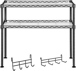 SONGMICS Półka do mikrofalówki, półka kuchenna z 2 poziomami, organizer na stół, z 2 regulowanymi półkami i 8 haczykami, c...