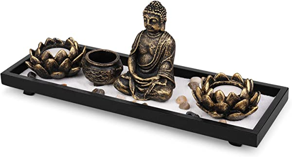 Flexzion 禅园冥想套件迷你亚洲沙园 W 佛像莲花蜡烛台香炉香棒耙子天然石白沙用于和平放松办公室家用棕色