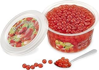 Popping Boba för bubbelté - Fruktpärlor, exploderande bubblor - 450 gram - jordgubbe - INGA konstgjorda färger - Mindre so...