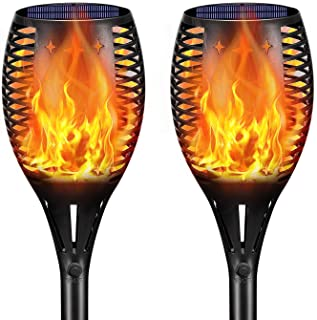 DeLight Solar Torch Lights, Waterproof Tiki Torches, Ourdoor Landscape Lighting 96 LED Dusk To Dawn Auto On/Off Security Torch Light (2 Pack)