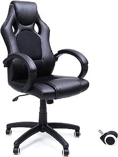 Songmics 6955880317424 OBG56B Bureaustoel, gamingstoel, directiestoel, PU-kunststof, zwart