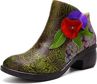 descuento de ventas WSR botas de Mujer, Mujer, Mujer, Botines de Tobillo para Mujer de Estilo étnico, botas Cortas de Costura Retro, Zapatos Planos Y Cómodos de Tacón Bajo Y botas Altas  liquidación hasta el 70%
