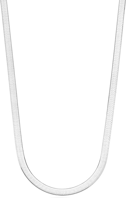 Miabella 925 Sterling Silver Italian Solid 4.5mm Flexible Flat Herringbone Chain Necklace for Men Women 16, 18, 20, 22, 24 Inch Made in Italy