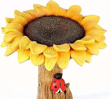Sunflower Bird Bath Bowl, Resin Pedestal Fountain Decoration for Outdoors Garden Yard and Patio, Planter Base, Feeder, Wonde