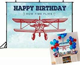 BINQOO Vintage Airplane Party Backdrop Vintage Time Flies Airplane Baby Shower Kids Childrens Boys Carnival Party Photography Background Cake Table Banner Decoration 5x3ft