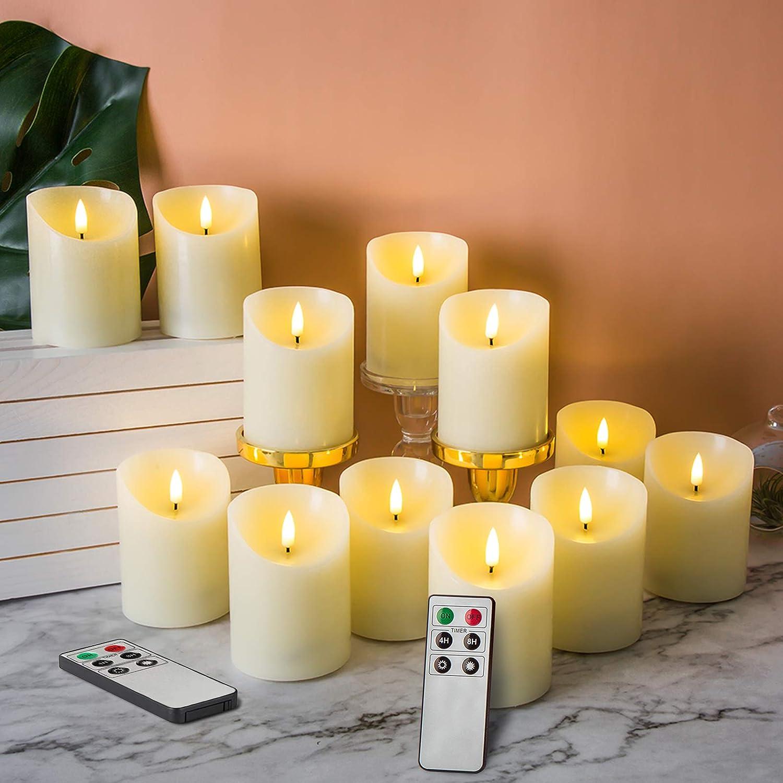 お得なキャンペーンを実施中 年中無休 Eywamage 12 Pack Realistic Flameless with Remote Pillar Candles