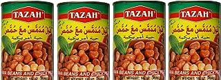 Tazah Fava Beans and Chickpeas Kosher Foul Meddamas 4-CANS ( Kosher ) Cooked & Ready to Serve - 16 Oz. فول مدمس مع حمص، فولة أميركية 450غ
