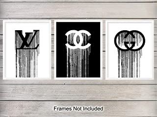 Designer Logo Unframed Wall Art Prints - Makes a Great Gift for Fashion Lovers and Designers - Modern Chic Home Decor - Ready to Frame - Set of 3-8x10 Vintage Photos - Gucci, Chanel, Louis Vuitton