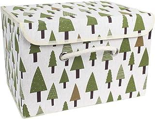 Boîtes de Rangement, paniers de Rangement en Tissu de Coton paniers avec Poignées et couvercles Organisation de blanchisse...