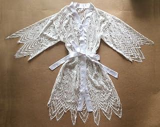 Traje de encaje blanco Kimono Robe (con adornos de encaje) -Ropa de Kimono Robe-Dama de honor Regalo-Fiesta de boda Regalo...
