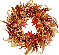 FUNARTY Fall Harvest Wreath Autumn Door Wreath with Leaves and Berries for Front Door or Indoor Wall Thanksgiving & Fall S...