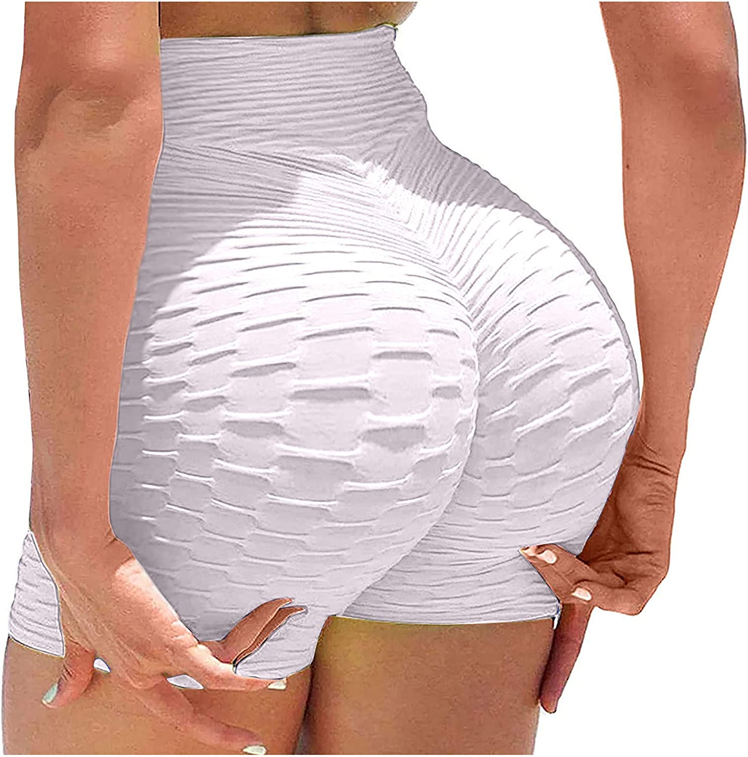 2 Pack Athletic Shorts for Women,Women Gym Shorts Butt Lifting Ruched Yoga Booty Running Short Tummy Control Leggings High Waisted Pants