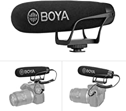 Super-Cardioid On Camera Shotgun Microphone for iPhone 11 X 8 7, BOYA Mic with TRS & TRRS Connectors for DSLR Nikon Canon Camcorder iOS Android Samsung Smartphone Tablets PC Vlog YouTube Livestream