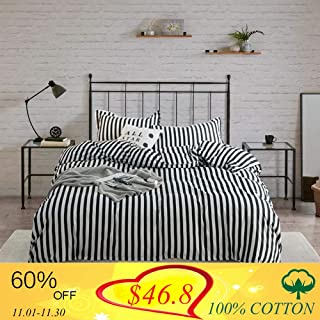 Wellboo Striped Duvet Cover Black and White Queen Bedding Sets Cotton Hotel Collection Dobby Duvet Set Women Men Teens Bedding Sets Vertical Stripe Soft Breathable 3 PCS No Insert