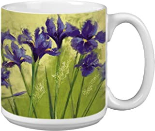 Flower Extra Large Mug, 20-Ounce Jumbo Ceramic Coffee Mug Cup, Irises On Green Nel Whatmore Art, Gift for Nature Lovers Tr...