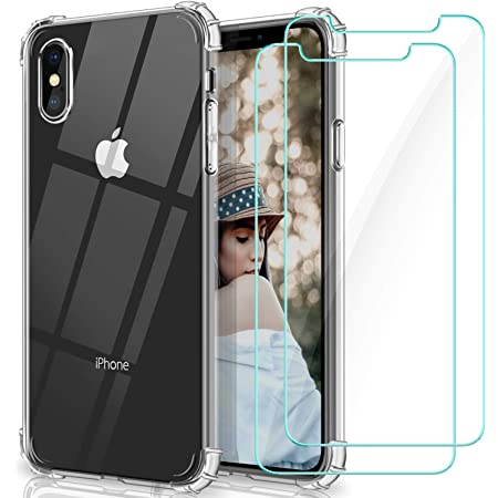 WINmall Coque Pour iPhone X, Coque Pour iPhone XS, 2 Pack Verre trempé Protection écran, [AIR Cushion Protection] Transparent Silicone ...