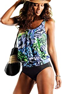 Raylans Womens Swimwear Color Block Criss Cross Back Strappy Tankini Top with Boyshorts Swimsuits S-4XL