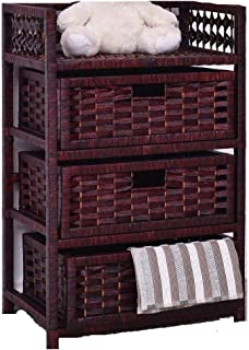 Brown 3 Drawers Wicker Baskets Chest Rack Organizer Home Table Cabinet Wood Storage