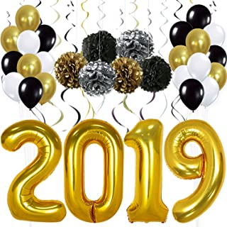 Gold 2019 Balloons Decorations Banner – Large, Pack of 49   Gold Black Silver Hanging Party Swirls, Paper Pom Poms and Balloon   Graduations Party Supplies, New Years Eve Party Supplies 2019