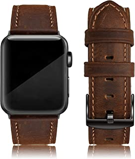 EDIMENS Leather Bands Compatible with Apple Watch 45mm 42mm 44mm Band Men Women, Vintage Genuine Leather Wristband Replace...