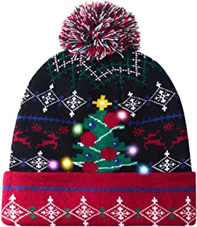 Goodstoworld Unisex Ugly Light Up Christmas Knit Beanie Hats 6 Colorful Led Family Xmas Party Holiday Caps