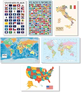 Map Set of 6 USA and World Maps Europe US Regions Classroom Poster for School Teachers 12x18 inch