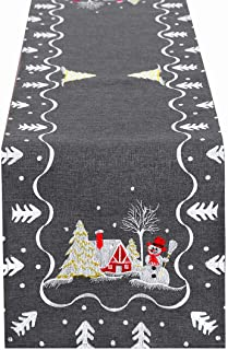 Simhomsen Embroidered Snowman Table Runner for Christmas Holidays Decorations, Dark Gray (13 × 88 Inch)