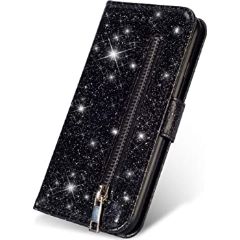 Gold Glitter Wallet Case for Samsung Galaxy S10 with Wrist Strap,QFFUN Luxury Bling Magnetic Closure Folio Stand Feature PU Leather Phone Cases Flip Cover Bumper and Screen Protector
