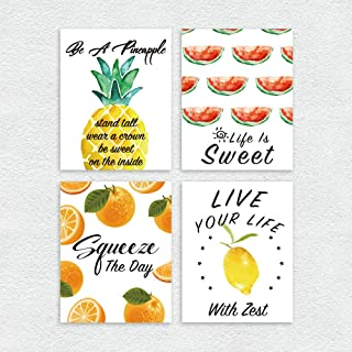 Ihopes Modern Wall Art Prints Decor - Set of Four 8x10 Unframed - Funny Fruit Art Sign with Positive Quotes Pineapple/Oran...