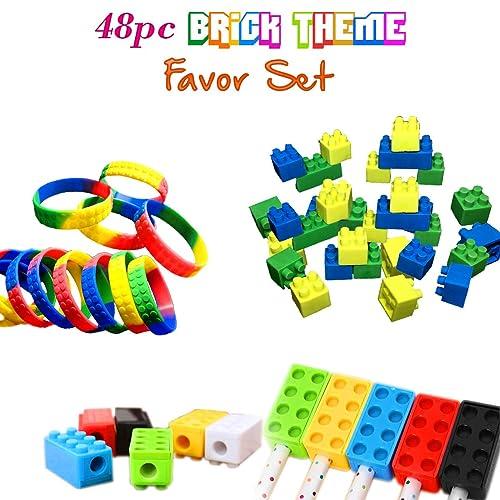 Brick Building Blocks Party Favor Novelty Toys Set Block Bracelets Erasers Sharpeners