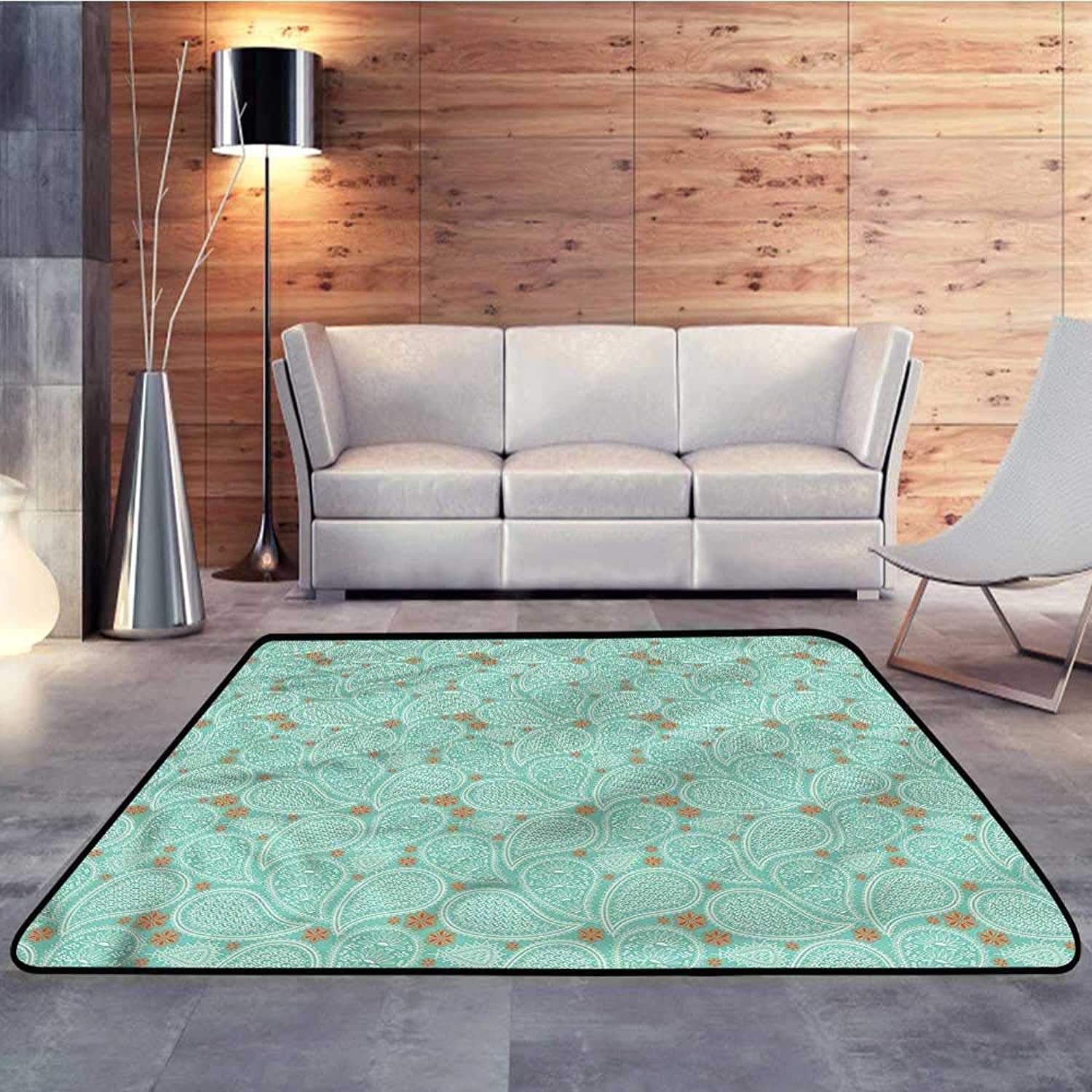 Carpet mat,Ethnic,bluee Paisley FlowersW 47  x L59 Floor Mat Entrance Doormat