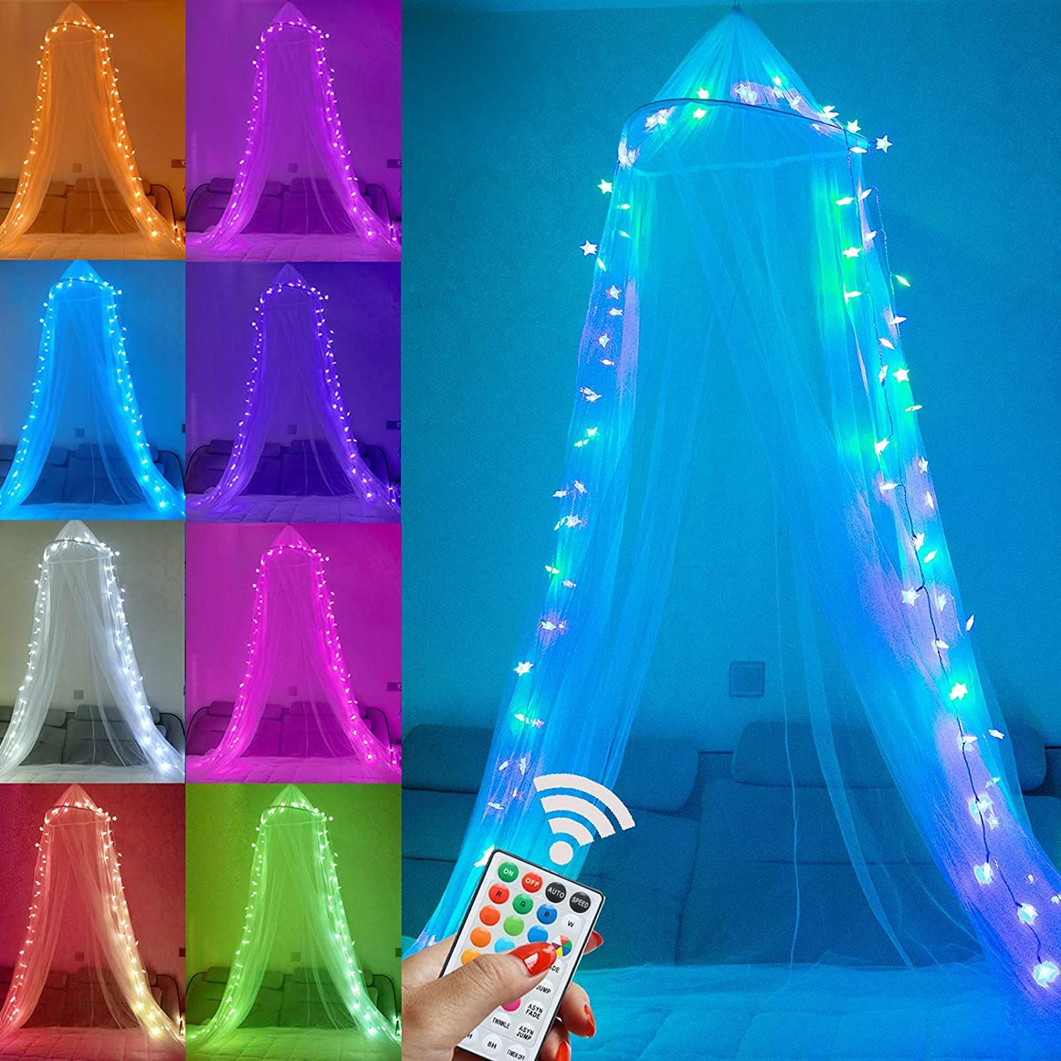 Bed Canopy 2021 model with 18 Colors Control Star 70% OFF Outlet Lights Remote