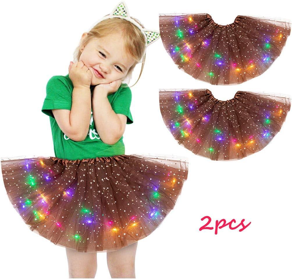 Ywoow Christmas Kids Girls Baby Sequin Tutu Skirt LED Light Up Pettiskirt Ballet Clothes 2pcs