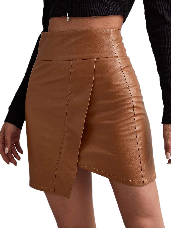 SOLY HUX Women's PU Leather High Waist Zipper Asymmetrical Hem Bodycon Skirt Brown