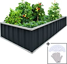 KING BIRD Extra-Thick 2-Ply Reinforced Card Frame Raised Garden Bed Galvanized Steel Metal Planter Kit Box Green 68