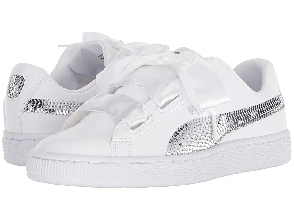 Puma Kids Basket Heart Bling Jr (Big Kid) (Puma White/Puma Silver) Girl